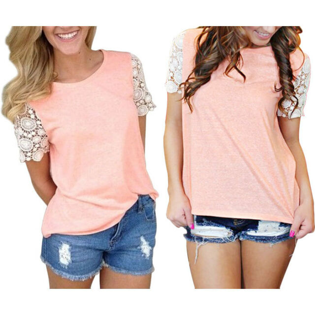 New Womens Summer Casual Short Sleeve Shirt Tops Blouse Ladies Lace Top Tank