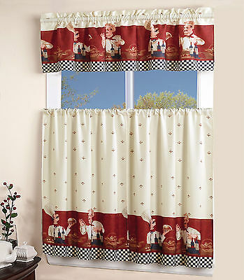3 Piece Floral  Kitchen Curtain with Swag and Tier Window Curtain Set