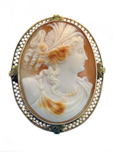 C Hook and Tube Hinged Pin Antique 1800/'s Victorian Landscape Cameo Hand Carved Shell Italian Twisted Ribbon and Filigree Leaf Frame