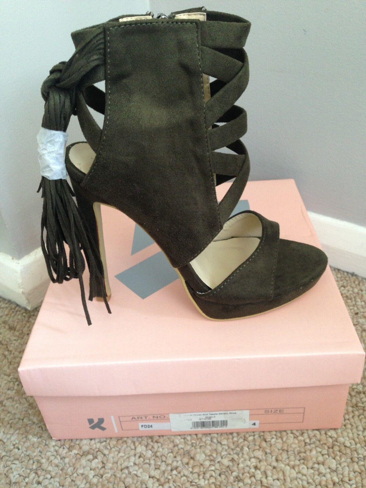 Khaki Tassel High Heel Shoes, New Size 4. New Shoes, 2a9e3e