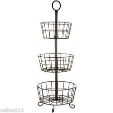 Metal Wire 3 Tier Rack Display Stand Antique Style Basket Fruits/Vegetables