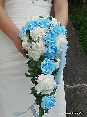Exclusiver Brautstrauss Rosen creme/türkis mit Bling, Hochzeit. Braut, Neu