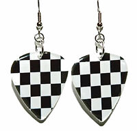 Checkered Flag Race Guitar Pick Dangle Earrings (gp015)