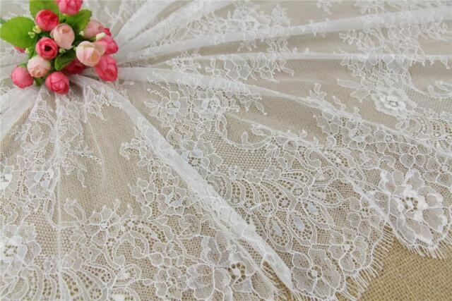 "59/"" Wide Floral Lace Fabric Chantilly Eyelash Lace for Bridal Gown 3m//piece"