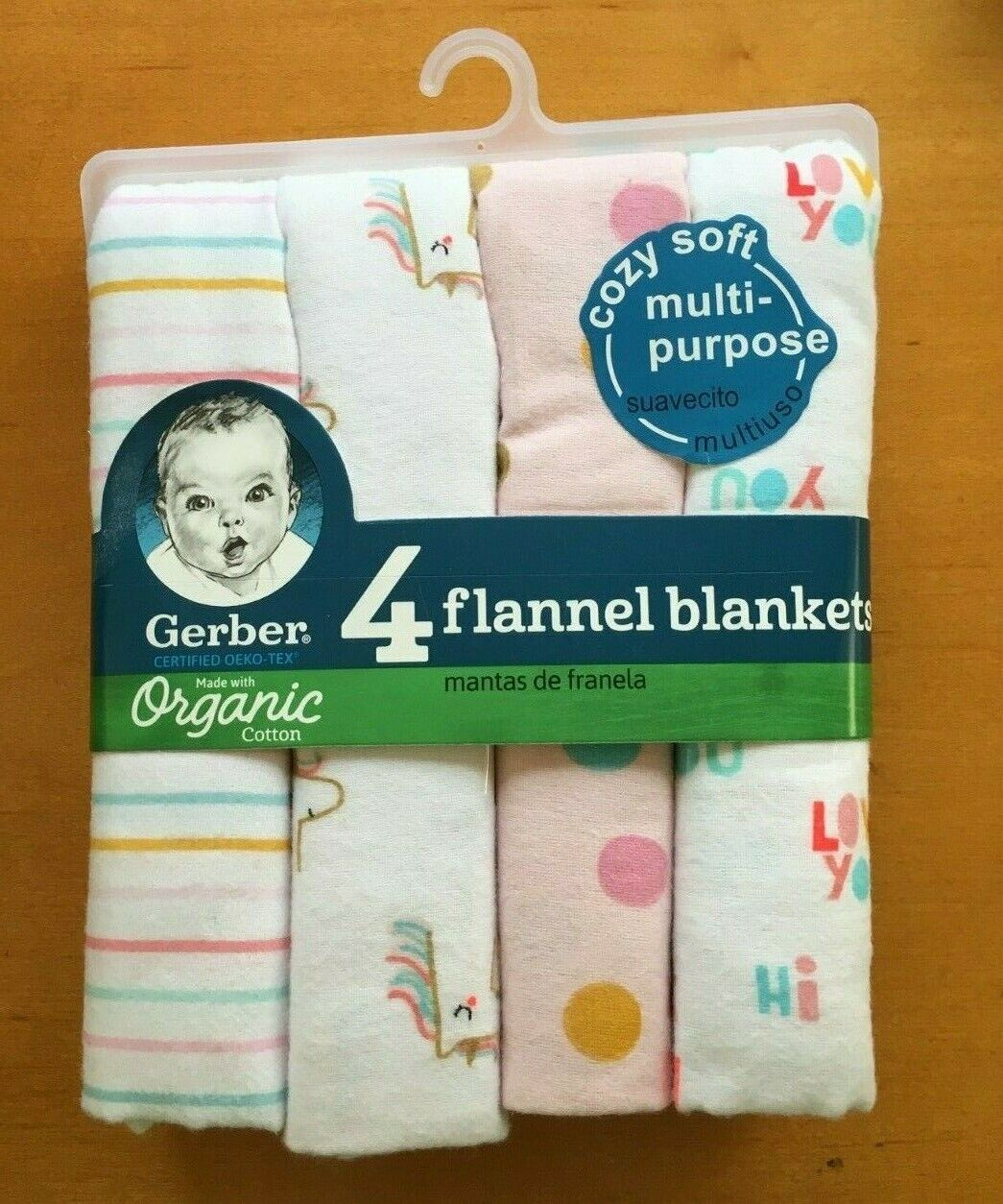 Gerber Baby Organic Cotton 4-Pack Flannel Blankets Pink White - FREE SHIPPING!