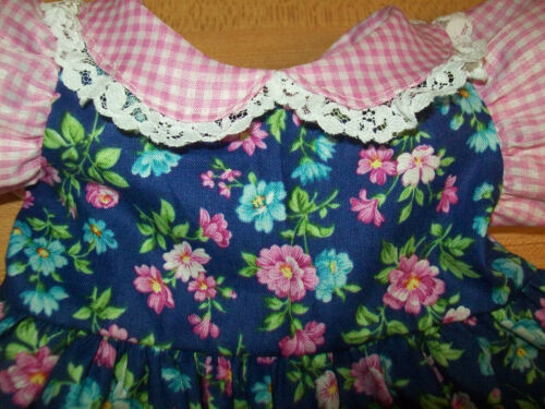 "LT PINK GINGHAM+BLUE FLOWER CALICO DRESS+PANTY for 16/"" CPK Cabbage Patch Kids"