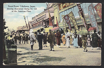 Yokohama-Japan-American Fleet-Military-Street Decoration-Antique Postcard