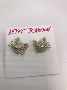 dbc8bc831 $32 Betsey Johnson Earrings Just Kitten Around Cat Face Pave E1   eBay
