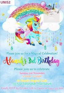 Rainbow Unicorn Birthday Party Invitations Invites Glitter Ebay