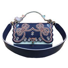 25cm Real Leather Embroidered Flowers Kan I  Shoulder Handbag Purse -Navy Blue