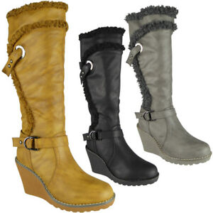 d5a111725a2 Womens Ladies Mid Calf High Boots Strappy Casual Work Zip Wedge Heel ...