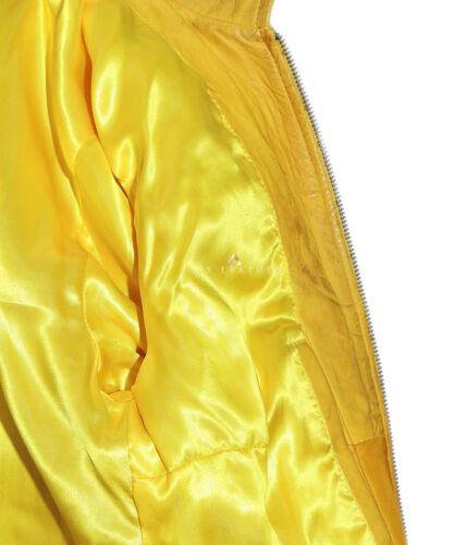 Kelly Yellow Biker Style Designer Ladies Real Lambskin Leather Fashion Jacket