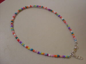 Adjustable-bracelet-anklet-mixed-COLOURS-RAINBOW-seed-bead-hippy-boho-love-beach