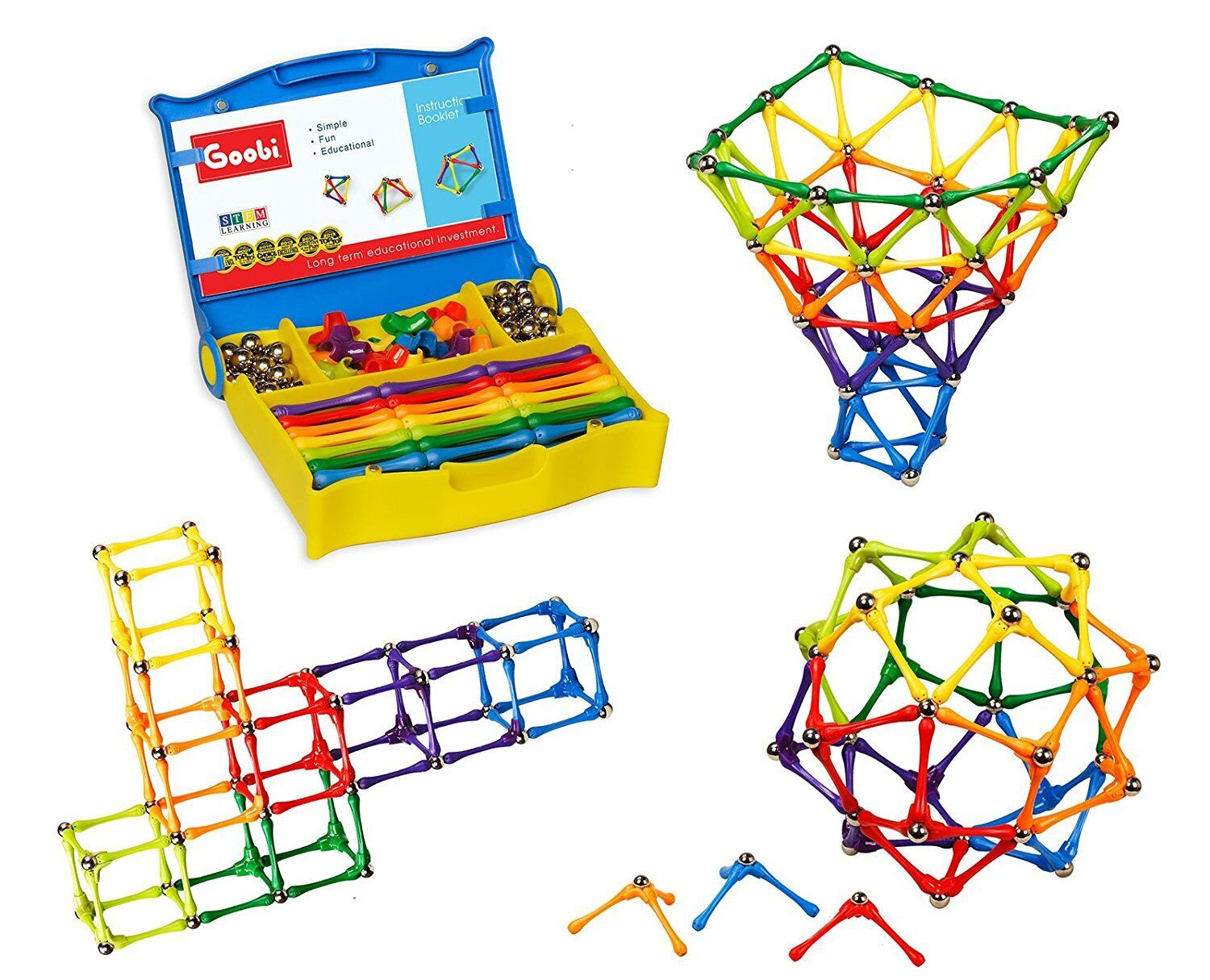 Goobi 180 Piece Construction Set with Instruction Booklet, STEM Learning Learning Learning 5b35b9