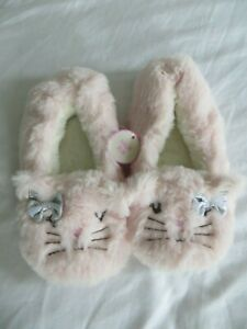 BNWT-Girls-Monsoon-Novelty-Pink-Faux-Fur-Pussy-Cat-Slippers-Size-UK-2-3