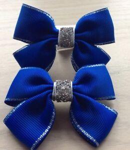 2 Filles Bleu Royal Et Argent Handmade Ribbon School Hair Bows/fermoirs/clips