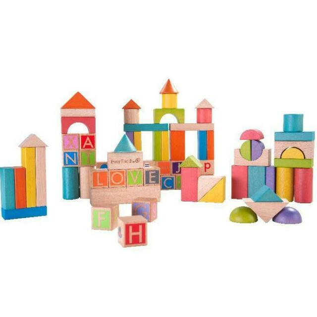 EverEarth Block Set Build & Learn Wooden 80pc