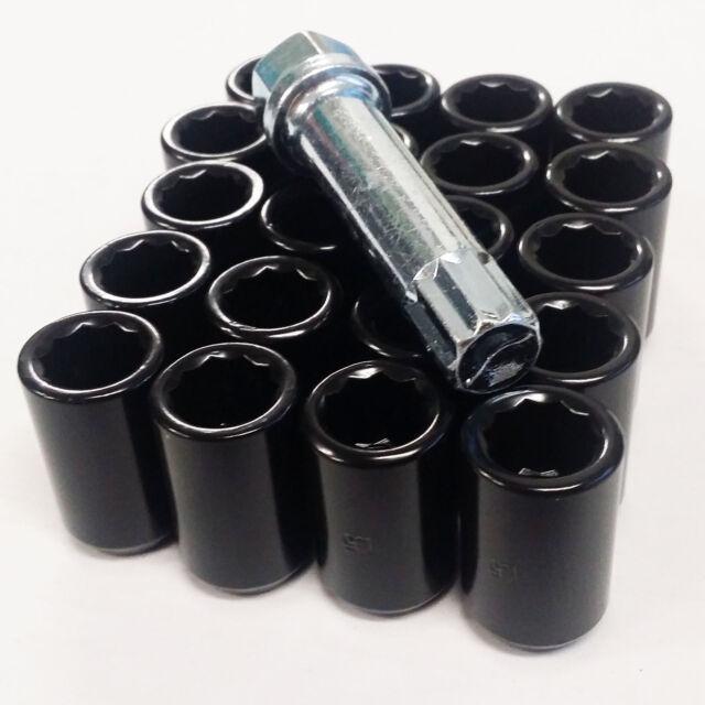 LONG STEEL EXTENDED OPEN WHEEL NUTS BLACK M12 x 1.25 fits SUBARU IMPREZA WRX STI