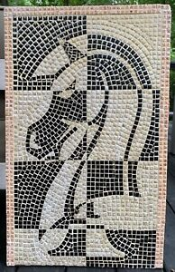 Nice-Vintage-50s-60s-Abstract-Horse-Tile-Mosaic-Wall-Hanging-Mid-Century-Modern