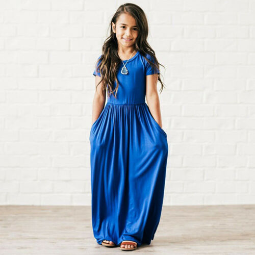 Short Sleeve Casual Long Maxi Dress Solid Beach Holiday Dresses for Kid Girls