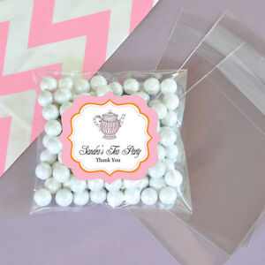 24 pink tea party personalized clear candy bags bridal shower wedding