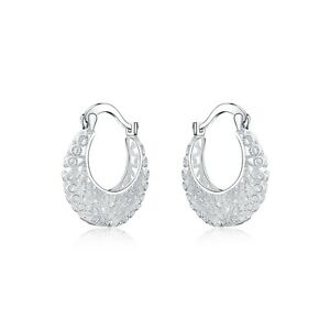 New-925-Sterling-Silver-Filled-Women-26mm-Filigree-Flower-Hoop-Clip-Earrings