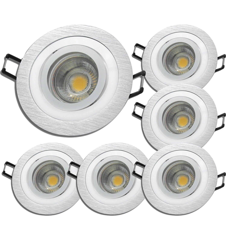 6 x Einbaustrahler Lisa   LED   5W   400Lumen   220V   EEK A+   Silber   Alu geb