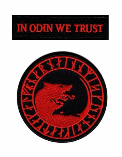 HOOK-RED//BLK In Odin We Trust Viking Úlfhédnar No Mercy Wolf Odin Patch