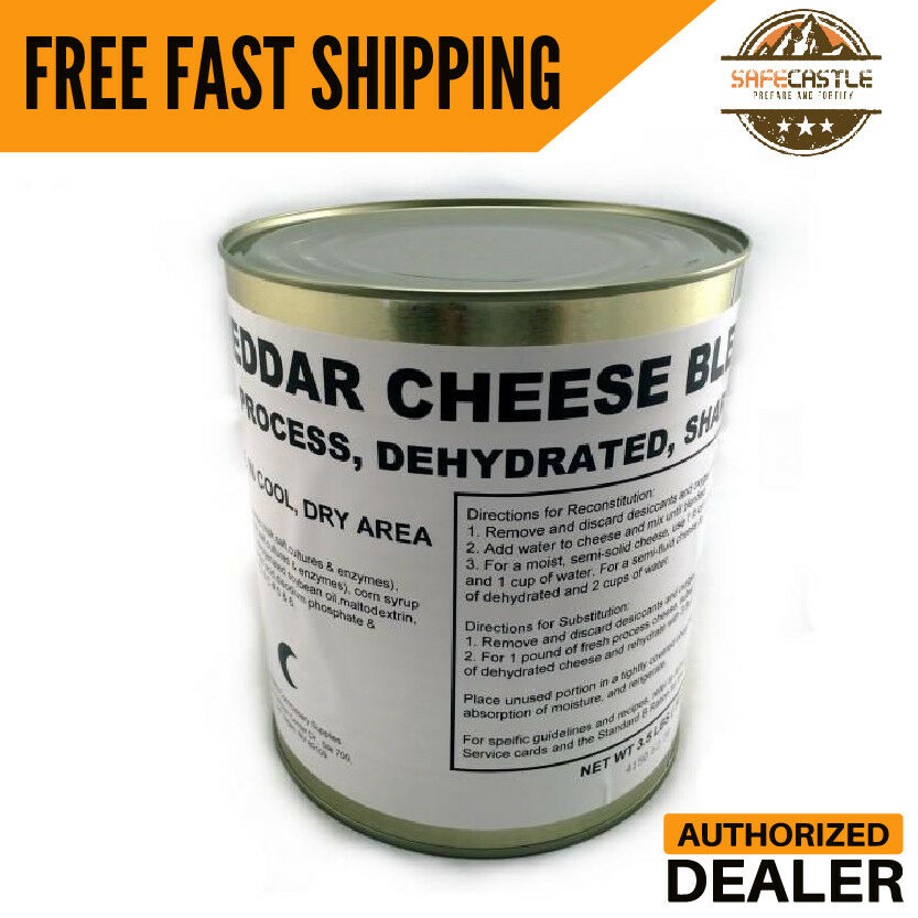 Military Food Surplus Cheddar Cheese Blend Single Can with 25+ yrs Shelf Life