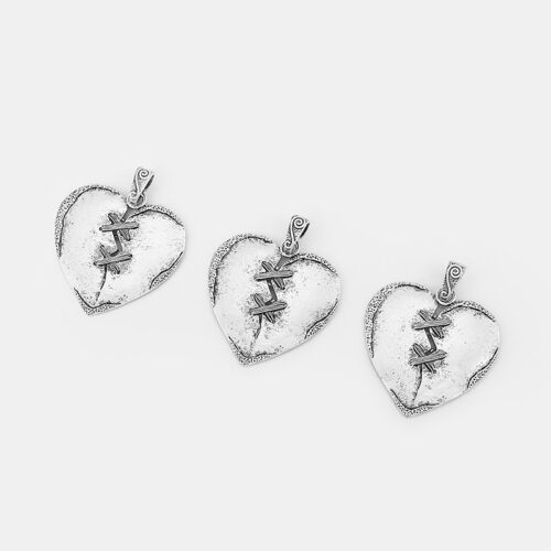 2pcs Antique Silver Mend Love Heart Charms Pendant DIY Jewelry Findings