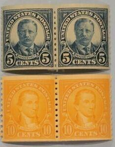 Scott#: 602/603 - Theodore Roosevelt & James Monroe Coil Pairs MNH OG - Lot 6