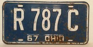 034-Ohio-License-Plate-1967-034-Blue-White-R787C-Vintage-Antique
