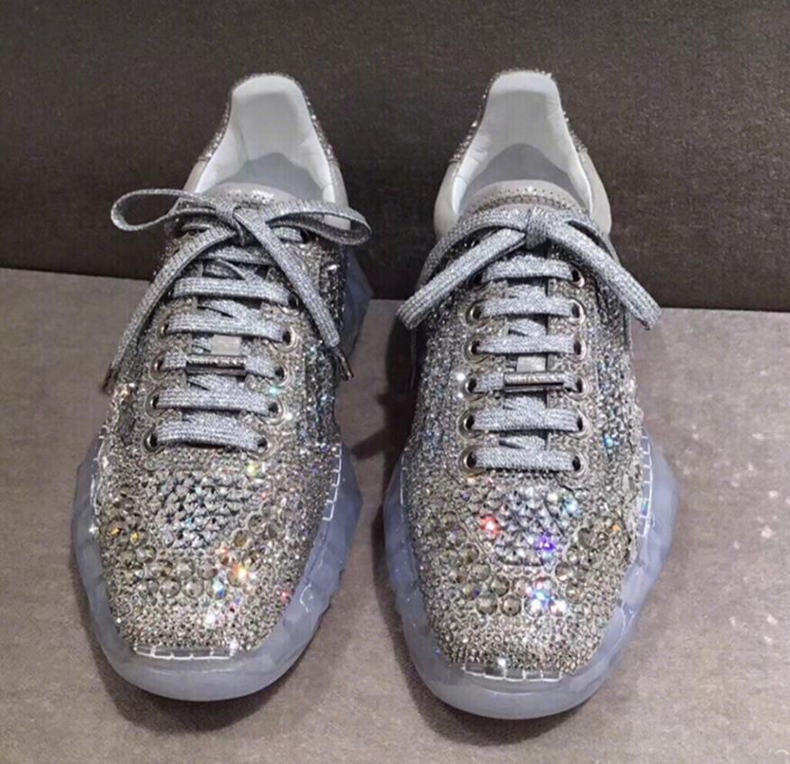 Spedizione gratuita per tutti gli ordini 2019 donna Transparent Bottom Rhinestone  Leather Casual Casual Casual scarpe scarpe da ginnastica Zsell  nessun minimo