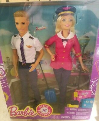 Barbie Ken Pilots Set Travel Flight Career NIB Collector New Pink Passport