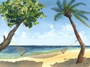 Lazy Florida beach scene watercolor