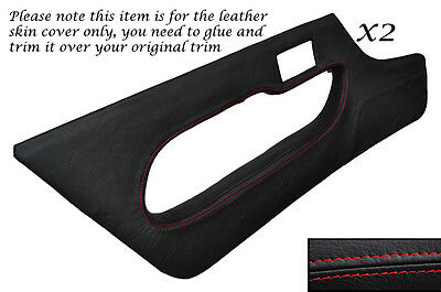 RED STITCH 2X FULL DOOR CARD LEATHER SKIN COVERS FITS LOTUS ELAN S3 & S4