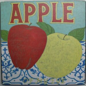 Iron tin metal sign home kitchen apple of my eye vintage for Apple home decor