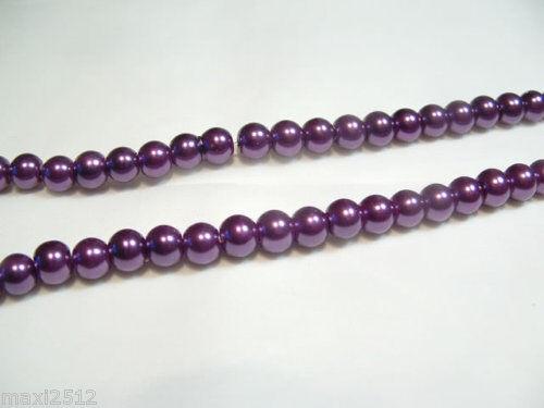 Violet #65B 140 Pcs x Verre Perle 6 mm Perles rondes