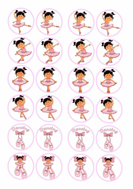 N1 Ballet Dance Cupcake Fairy Cake Wafer Paper Toppers x 24