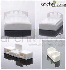 5er Set  Modell Schlafzimmer Möbel 1:50, Doppelbett + Einzelbett + TV + 2 Sessel
