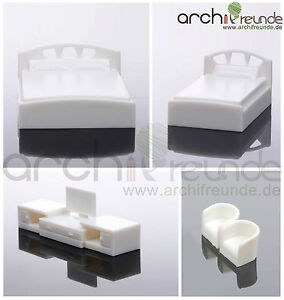 Dettagli su 5er Set Modello Mobili camera da letto 1:50, letto matrimoniale  + letto singolo + TV + 2 POLTRONA- mostra il titolo originale