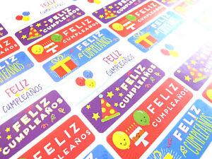 Feliz Cumpleanos Espagnole Joyeux Anniversaire Etiquettes Autocollants Pour