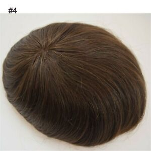 Brown-Mono-Lace-Hair-Topper-Replacement-Men-039-s-Toupee-Remy-Human-Hair-Hairpieces