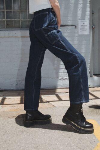 brandy melville dark wash high rise relax fit Talia denim cargo jeans NWT sz S
