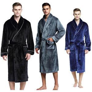 Men Women Shawl Collar Long Sleeve Wrap Belted Coral Fleece Robe Spa ... 64530f813