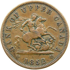 BANK OF UPPER CANADA, 1852 One Penny Token, St. George & The Dragon, Haxby 221a.