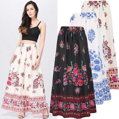 Women Boho Maxi Skirt Dress Floral Holiday Summer High Waist Skirt Sundress AU | eBay