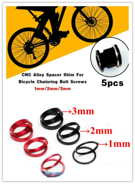 5pcs CNC Alloy Spacer Shim For Bicycle Chainring Bolt Screws 1mm 2mm 3mm