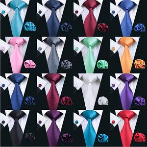 USA-Solid-Plain-Mens-Tie-Set-Silk-50-Colors-Red-Blue-Black-Green-Necktie-Wedding
