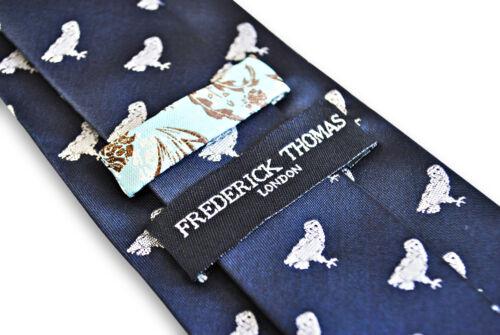 Frederick Thomas bleu marine homme cravate avec Barn Owl Pattern